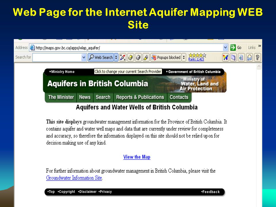 Web Page for the Internet Aquifer Mapping WEB Site