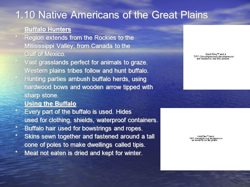 1.10 Native Americans of the Great Plains Buffalo Hunters *Region extends from the Rockies to the Mississippi Valley; from Canada to the Gulf of Mexic