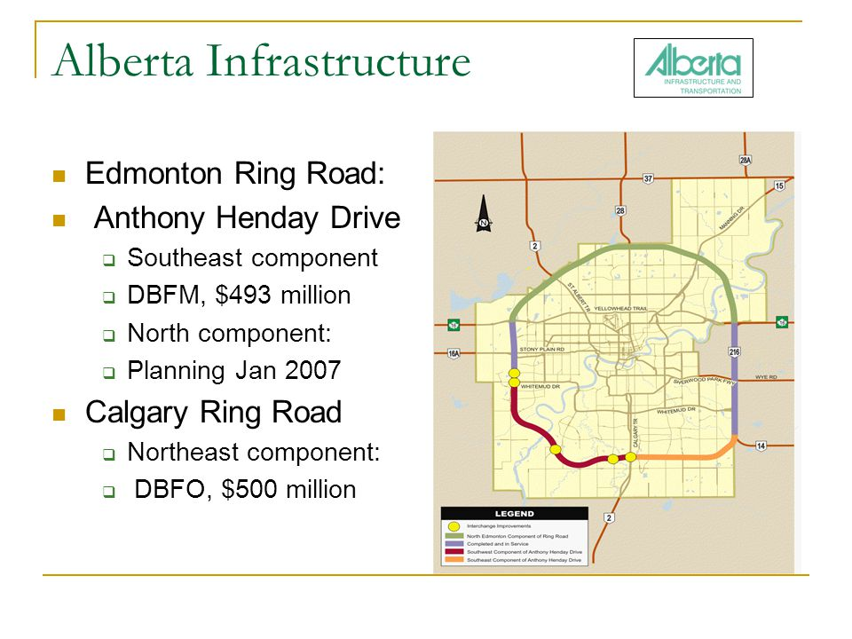 Alberta Infrastructure Edmonton Ring Road: Anthony Henday Drive  Southeast component  DBFM, $493 million  North component:  Planning Jan 2007 Calgary Ring Road  Northeast component:  DBFO, $500 million