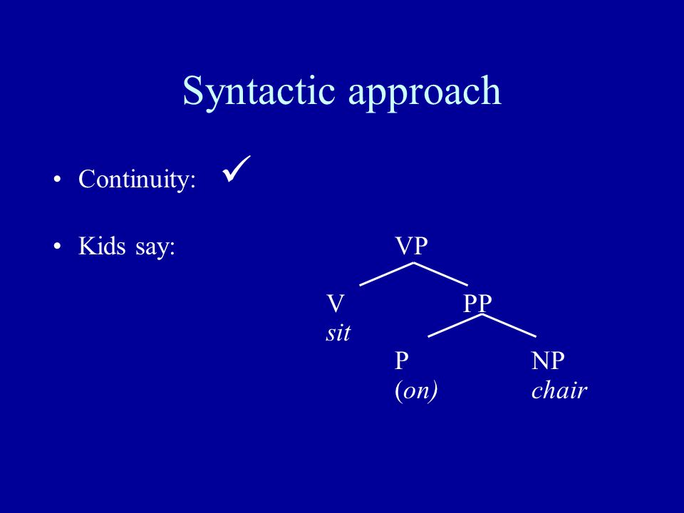 Syntactic approach Continuity: Kids say: VP VPP sit PNP (on)chair
