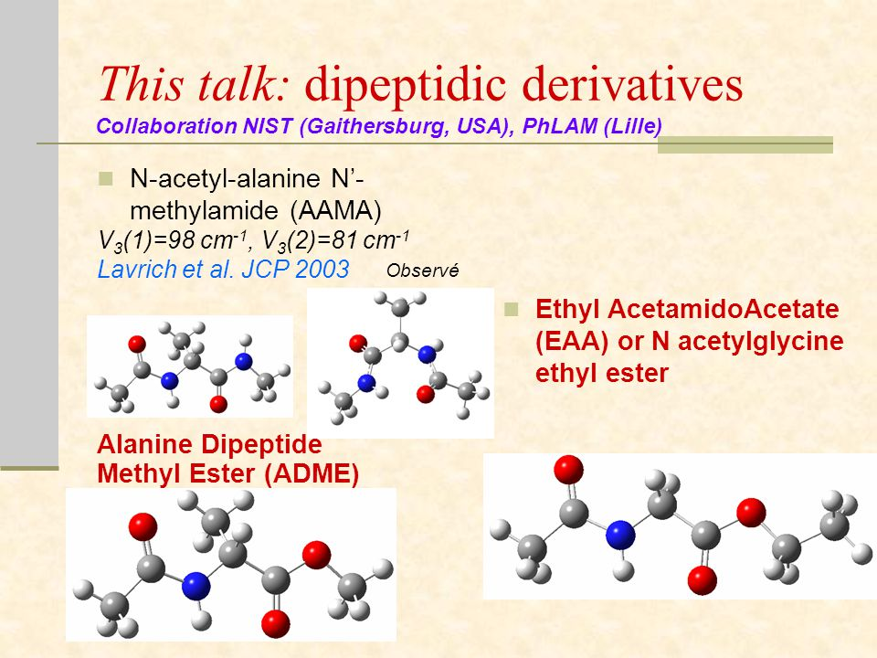 This talk: dipeptidic derivatives N-acetyl-alanine N'- methylamide (AAMA) V 3 (1)=98 cm -1, V 3 (2)=81 cm -1 Lavrich et al.