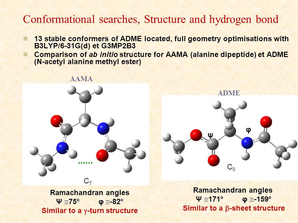 Conformational searches, Structure and hydrogen bond 13 stable conformers of ADME located, full geometry optimisations with B3LYP/6-31G(d) et G3MP2B3 Comparison of ab initio structure for AAMA (alanine dipeptide) et ADME (N-acetyl alanine methyl ester) AAMA ADME C5C5 C7C7 ψ Ramachandran angles Ψ  171° φ  -159° Similar to a  -sheet structure φ Ramachandran angles Ψ  75° φ  -82° Similar to a  -turn structure