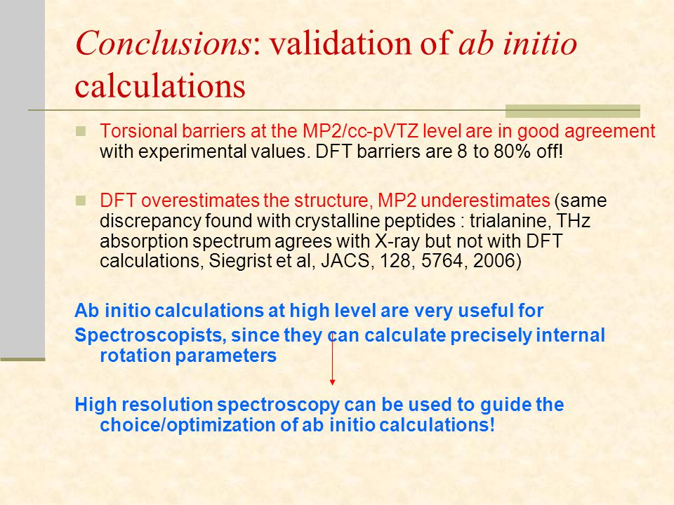 Conclusions: validation of ab initio calculations Torsional barriers at the MP2/cc-pVTZ level are in good agreement with experimental values.