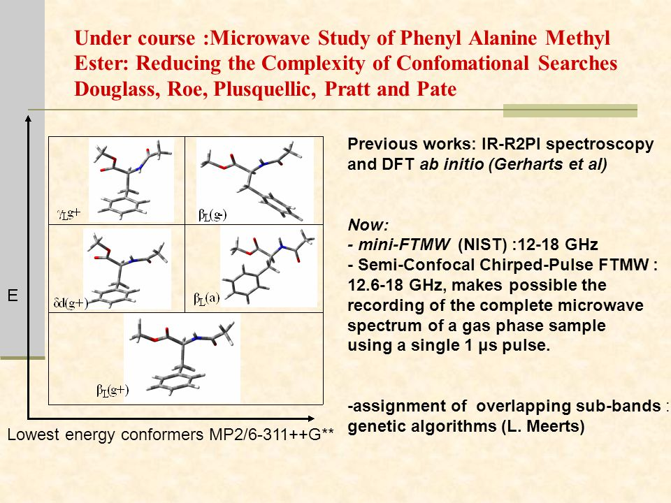 Under course :Microwave Study of Phenyl Alanine Methyl Ester: Reducing the Complexity of Confomational Searches Douglass, Roe, Plusquellic, Pratt and Pate Lowest energy conformers MP2/6-311++G** Previous works: IR-R2PI spectroscopy and DFT ab initio (Gerharts et al) Now: - mini-FTMW (NIST) :12-18 GHz - Semi-Confocal Chirped-Pulse FTMW : 12.6-18 GHz, makes possible the recording of the complete microwave spectrum of a gas phase sample using a single 1 μs pulse.