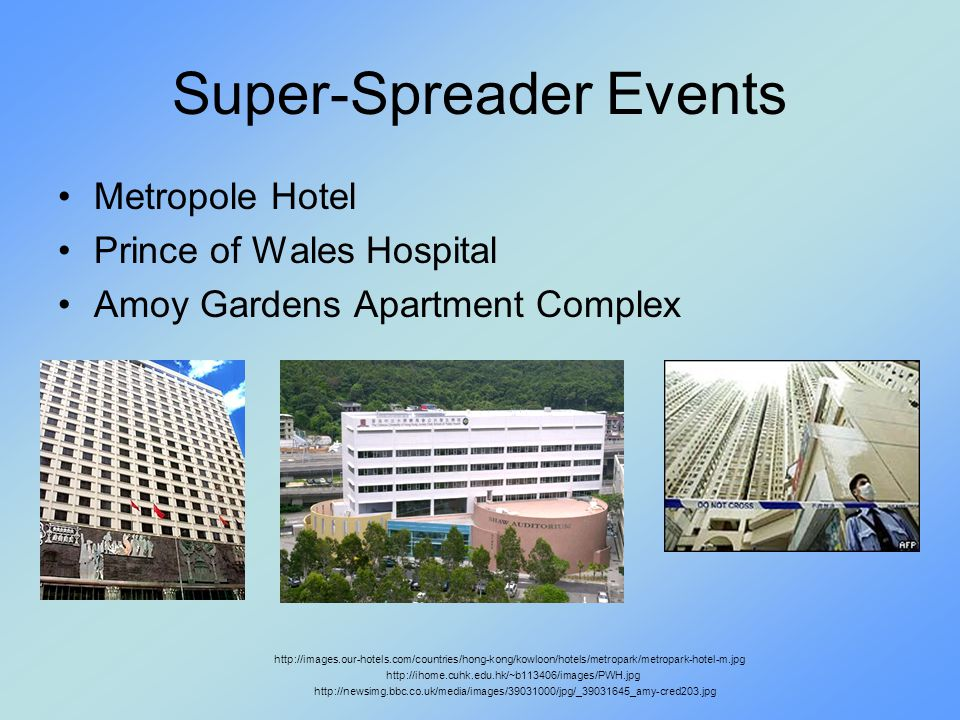 Super-Spreader Events Metropole Hotel Prince of Wales Hospital Amoy Gardens Apartment Complex http://images.our-hotels.com/countries/hong-kong/kowloon/hotels/metropark/metropark-hotel-m.jpg http://ihome.cuhk.edu.hk/~b113406/images/PWH.jpg http://newsimg.bbc.co.uk/media/images/39031000/jpg/_39031645_amy-cred203.jpg