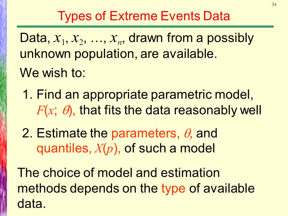 34 Types of Extreme Events Data The choice of model and estimation methods depends on the type of available data. Data, x 1, x 2, …, x n, drawn from a