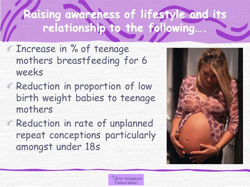 Raising awareness of lifestyle and its relationship to the following…. Increase in % of teenage mothers breastfeeding for 6 weeks Reduction in proport