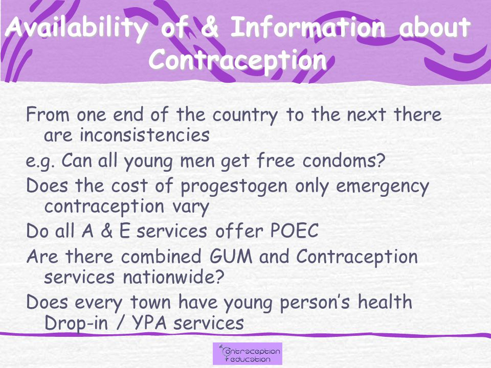 Information about and Accessibility of Services From one end of the country to the other there are inconsistencies in the level of service and accessibility to teenagers e.g.