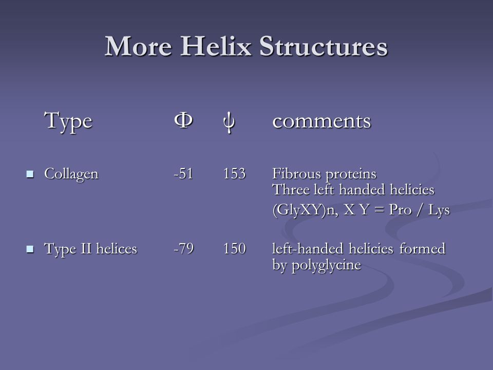 More Helix Structures TypeΦψcomments Collagen-51153Fibrous proteins Three left handed helicies Collagen-51153Fibrous proteins Three left handed helici