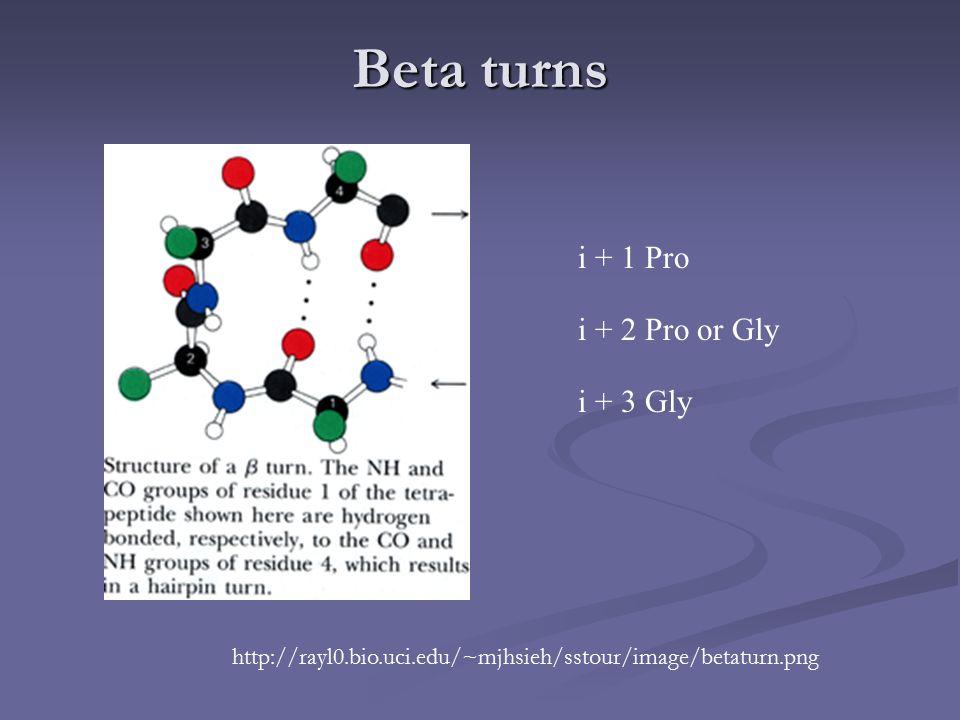 Beta turns i + 1 Pro i + 2 Pro or Gly i + 3 Gly http://rayl0.bio.uci.edu/~mjhsieh/sstour/image/betaturn.png