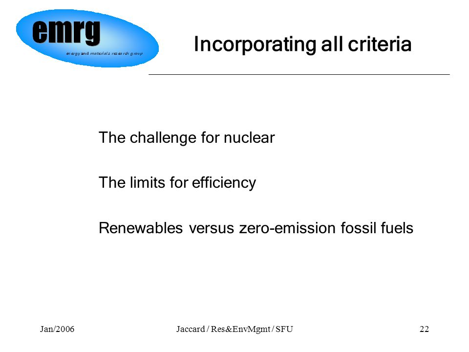 Jan/2006Jaccard / Res&EnvMgmt / SFU22 The challenge for nuclear The limits for efficiency Renewables versus zero-emission fossil fuels Incorporating all criteria