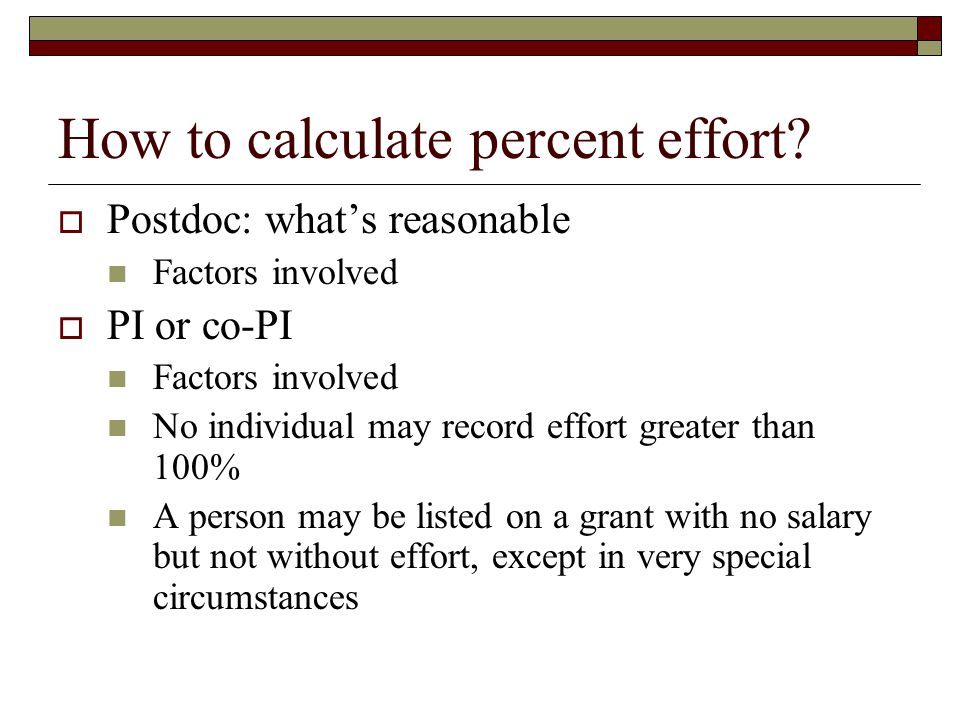 How to calculate percent effort.
