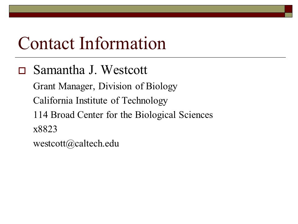 Contact Information  Samantha J.