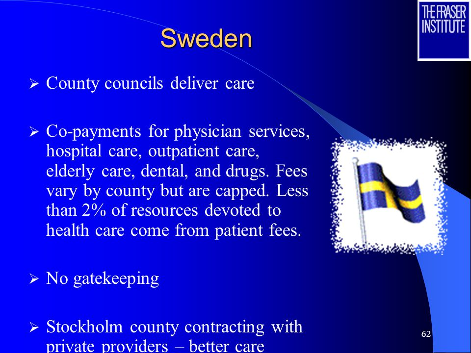 62 Sweden  County councils deliver care  Co-payments for physician services, hospital care, outpatient care, elderly care, dental, and drugs.