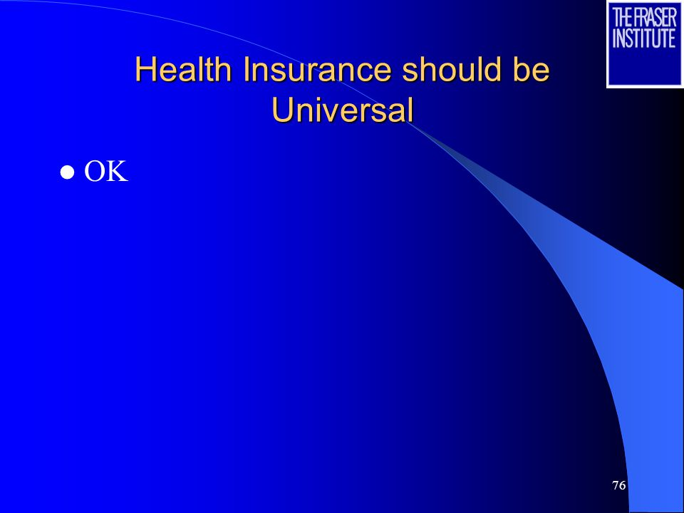 76 Health Insurance should be Universal OK
