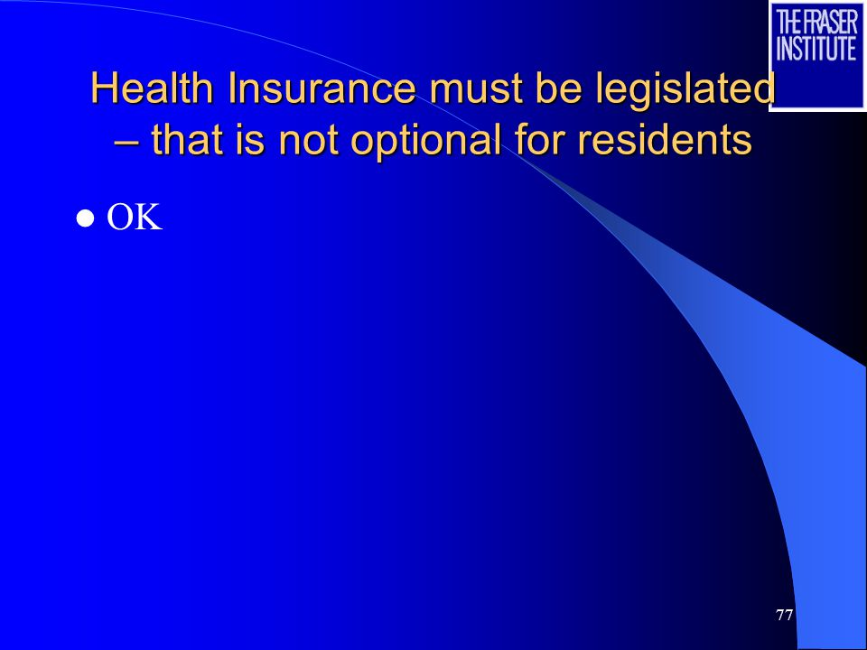 77 Health Insurance must be legislated – that is not optional for residents OK