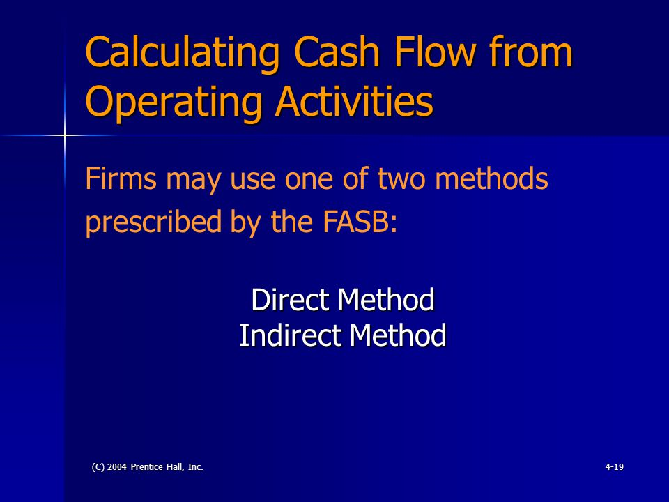 (C) 2004 Prentice Hall, Inc.4-19 Calculating Cash Flow from Operating Activities Direct Method Indirect Method Firms may use one of two methods prescribed by the FASB:
