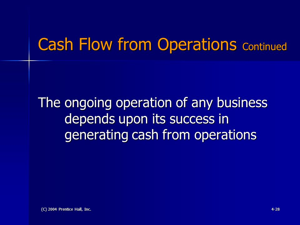 (C) 2004 Prentice Hall, Inc.4-28 Cash Flow from Operations Continued The ongoing operation of any business depends upon its success in generating cash