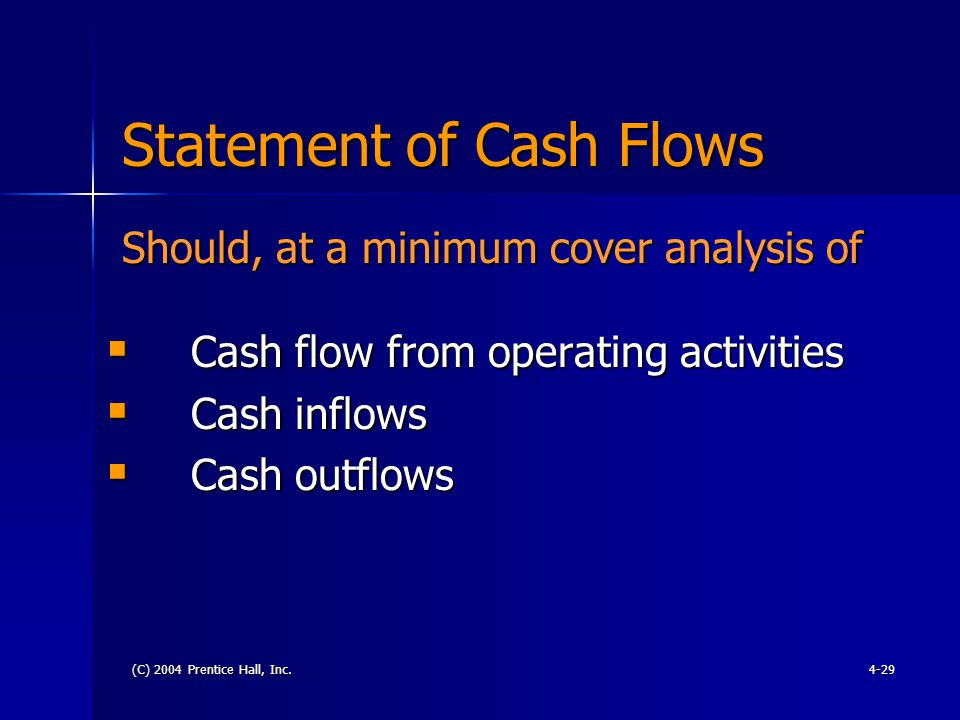 (C) 2004 Prentice Hall, Inc.4-29 Statement of Cash Flows  Cash flow from operating activities  Cash inflows  Cash outflows Should, at a minimum cover analysis of