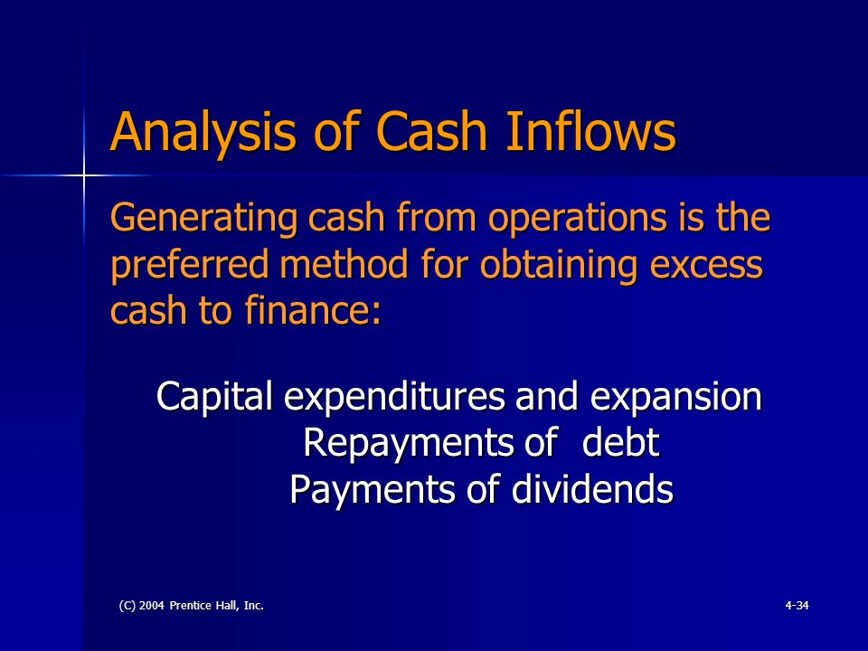 (C) 2004 Prentice Hall, Inc.4-34 Analysis of Cash Inflows Capital expenditures and expansion Repayments of debt Payments of dividends Generating cash