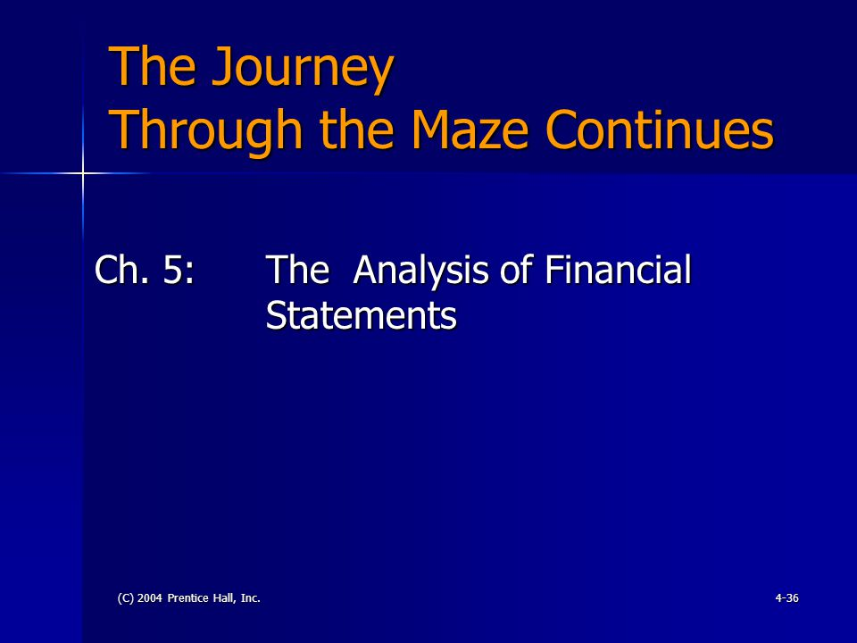 (C) 2004 Prentice Hall, Inc.4-36 The Journey Through the Maze Continues Ch.