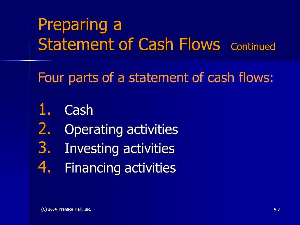 (C) 2004 Prentice Hall, Inc.4-9 Preparing a Statement of Cash Flows Continued Cash & Cash equivalents: Cash include T-Bills Notes Certificates Bonds CDs Commercial paper