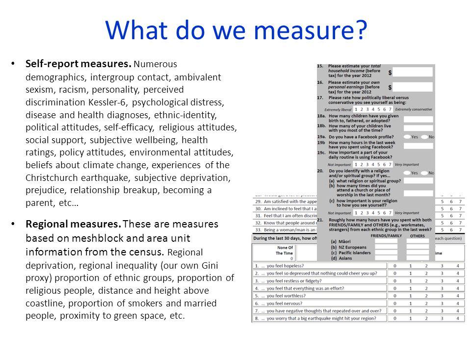 What do we measure. Self-report measures.