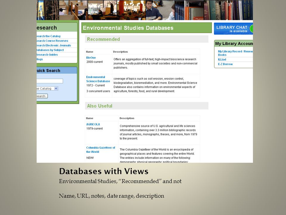 "Databases with Views Environmental Studies, ""Recommended"" and not Name, URL, notes, date range, description"