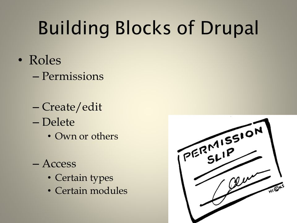 Building Blocks of Drupal Roles – Permissions – Create/edit – Delete Own or others – Access Certain types Certain modules