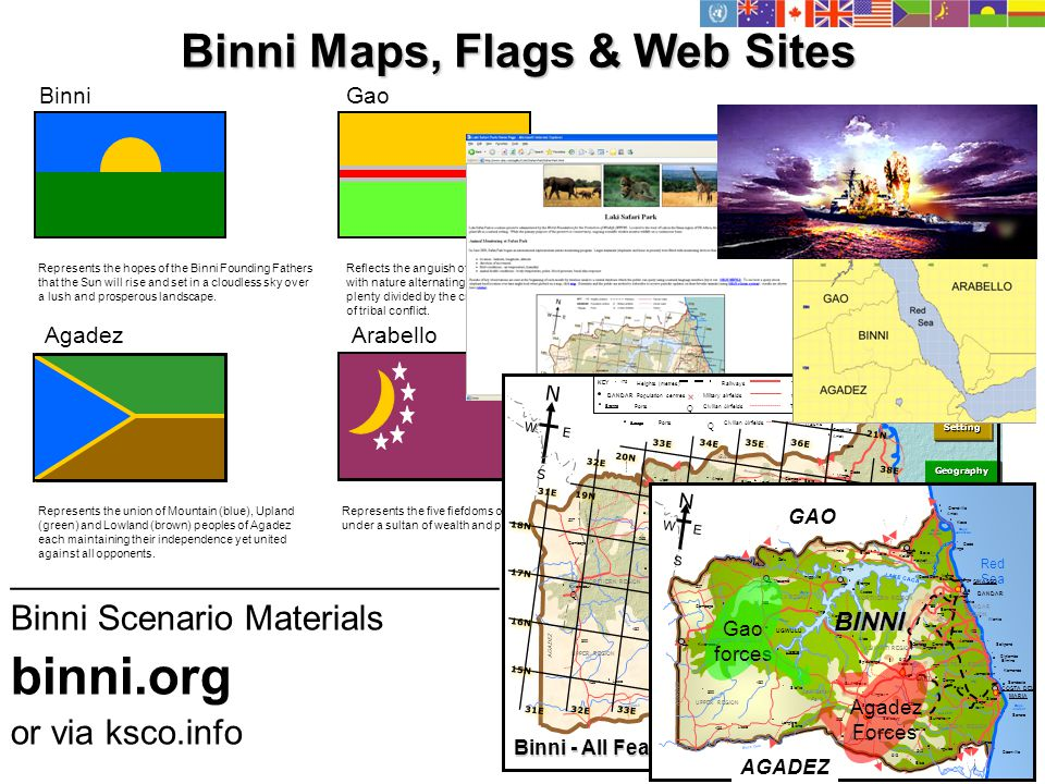 Binni Maps, Flags & Web Sites Represents the five fiefdoms of Arabello unified under a sultan of wealth and power.