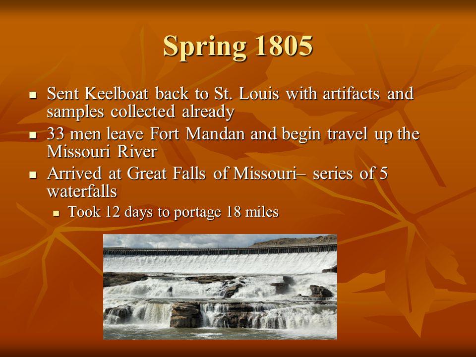 Spring 1805 Sent Keelboat back to St.