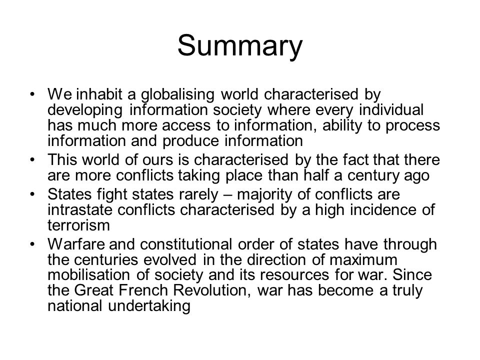 Summary We inhabit a globalising world characterised by developing information society where every individual has much more access to information, abi