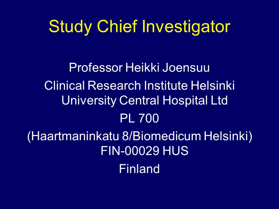 Tumour Samples Paraffin embeded tissue block –gene amplifications, mutations, signalling proteins Again, collection optional for patient Will be used for quality control of HER2 assessment Samples should be sent via mail to Study Centre in Helsinki, Finland (as previous).