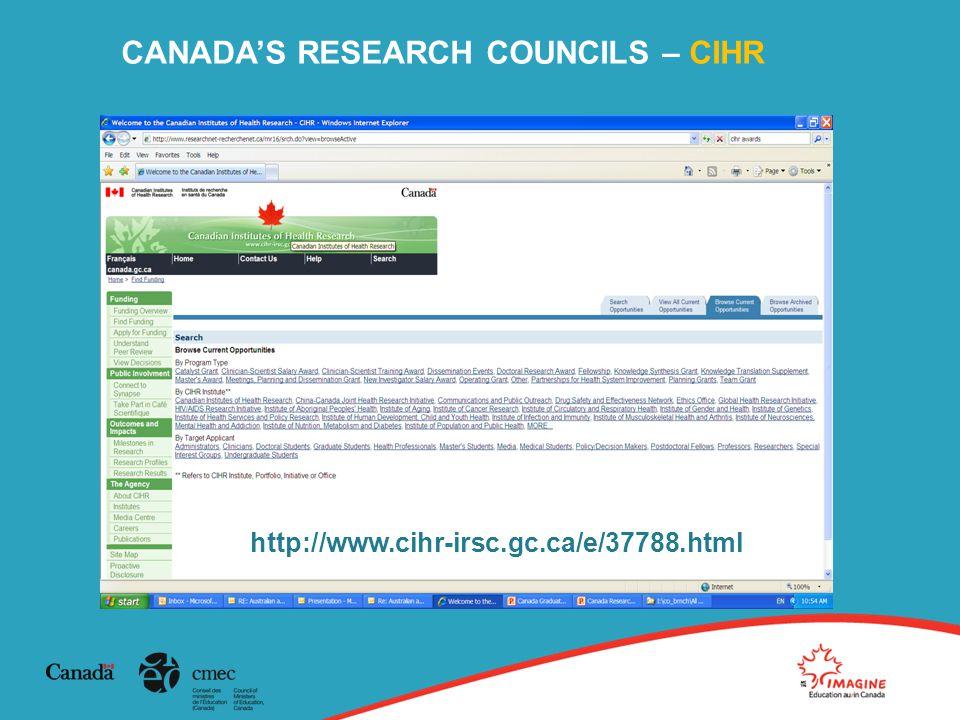 CANADA'S RESEARCH COUNCILS – CIHR http://www.cihr-irsc.gc.ca/e/37788.html