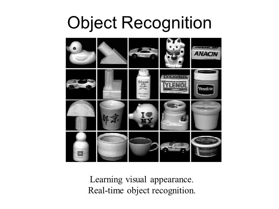 Object Recognition Learning visual appearance. Real-time object recognition.