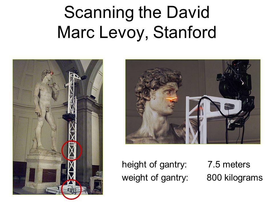Scanning the David Marc Levoy, Stanford height of gantry: 7.5 meters weight of gantry: 800 kilograms