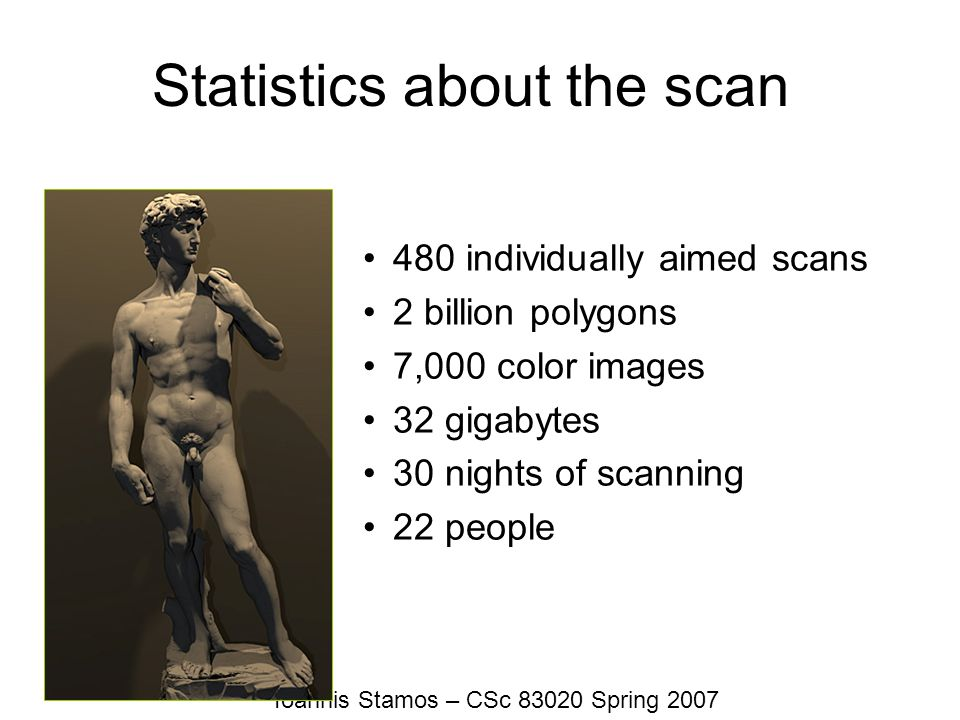 Ioannis Stamos – CSc 83020 Spring 2007 Statistics about the scan 480 individually aimed scans 2 billion polygons 7,000 color images 32 gigabytes 30 ni