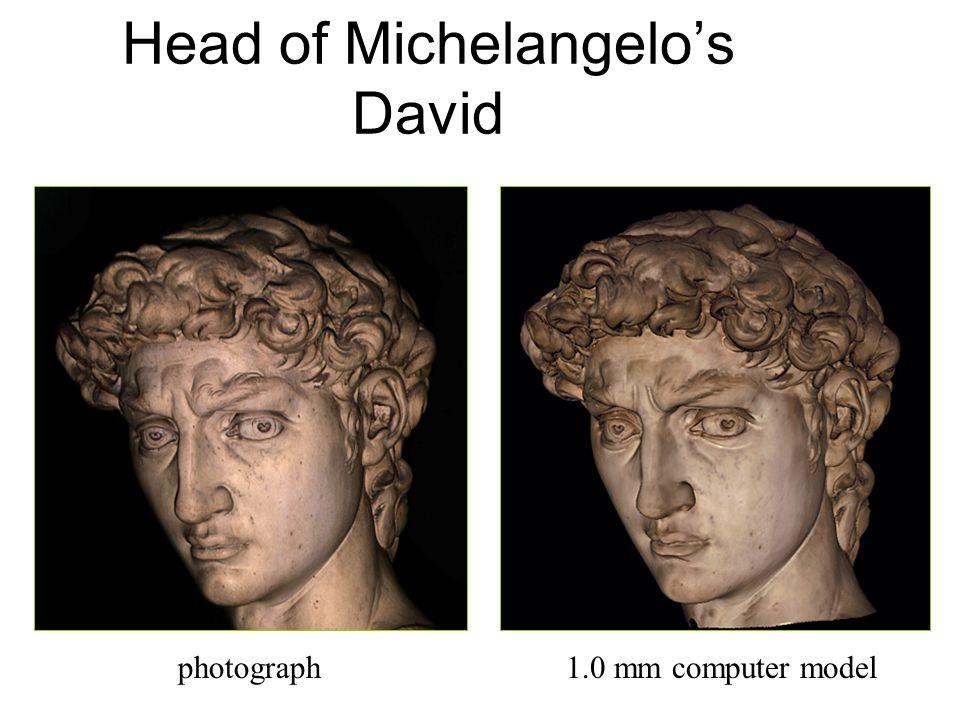Head of Michelangelo's David photograph1.0 mm computer model