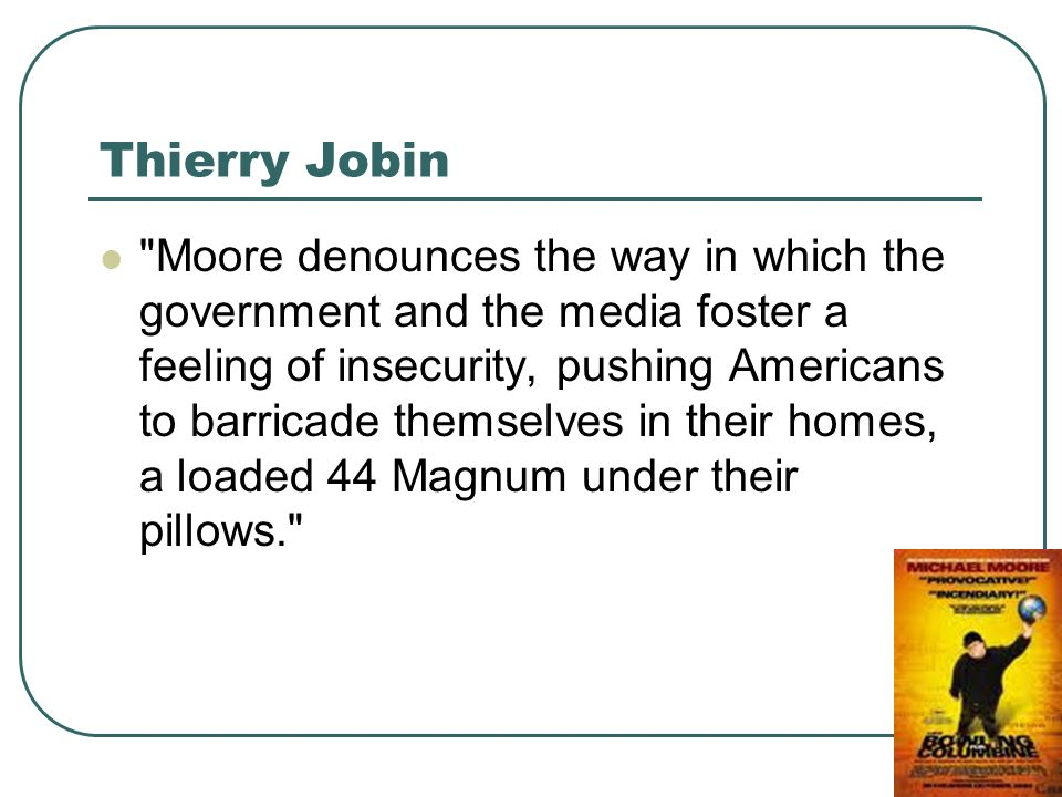 Thierry Jobin Moore denounces the way in which the government and the media foster a feeling of insecurity, pushing Americans to barricade themselves in their homes, a loaded 44 Magnum under their pillows.