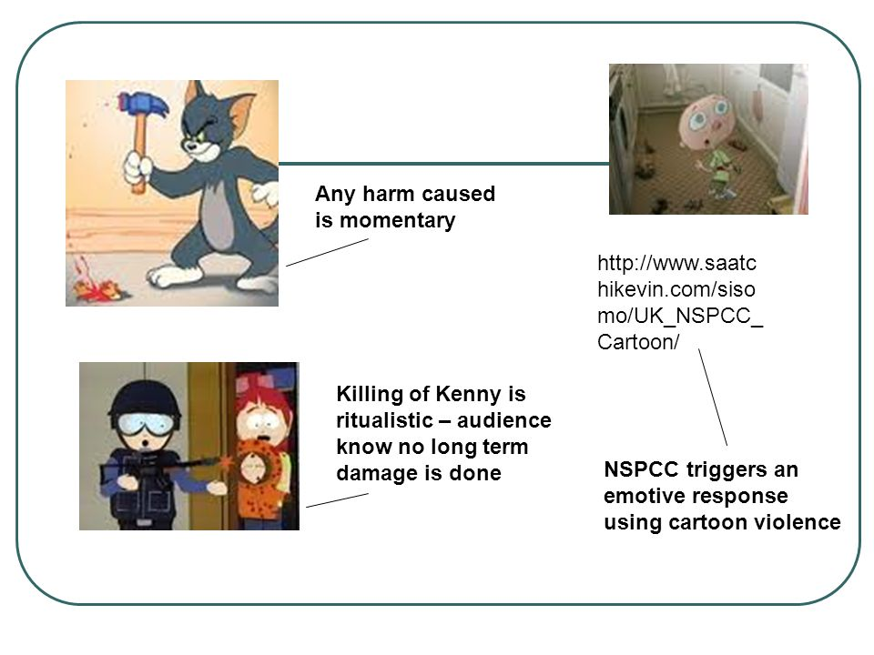 Any harm caused is momentary Killing of Kenny is ritualistic – audience know no long term damage is done http://www.saatc hikevin.com/siso mo/UK_NSPCC_ Cartoon/ NSPCC triggers an emotive response using cartoon violence