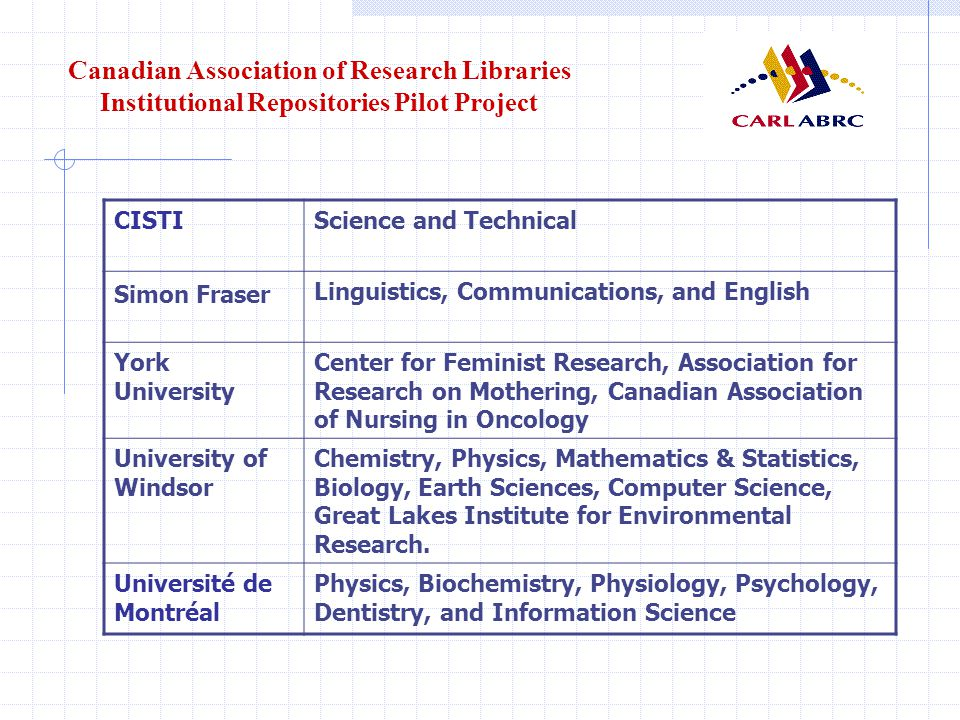 Canadian Association of Research Libraries Institutional Repositories Pilot Project CISTIScience and Technical Simon Fraser Linguistics, Communications, and English York University Center for Feminist Research, Association for Research on Mothering, Canadian Association of Nursing in Oncology University of Windsor Chemistry, Physics, Mathematics & Statistics, Biology, Earth Sciences, Computer Science, Great Lakes Institute for Environmental Research.