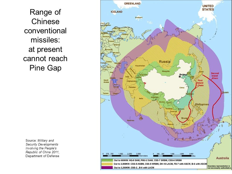 Range of Chinese conventional missiles: at present cannot reach Pine Gap Source: Military and Security Developments Involving the People s Republic of China 2011, Department of Defense