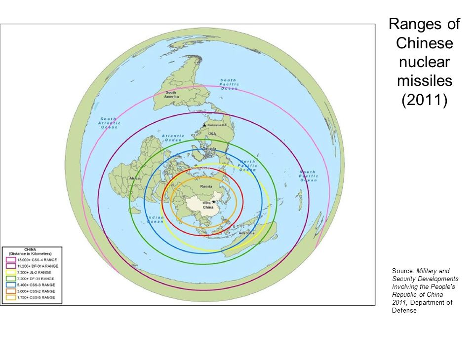 Ranges of Chinese nuclear missiles (2011) Source: Military and Security Developments Involving the People s Republic of China 2011, Department of Defense