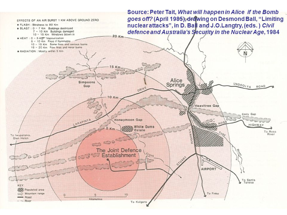 Source: Peter Tait, Effects of a 1 Mt airburst over Pine Gap (April 1985), drawing on Desmond Ball, Limiting nuclear attacks , in D.