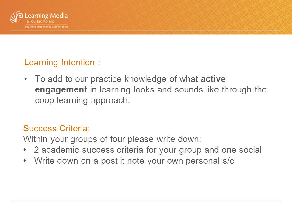 Learning Intention : To add to our practice knowledge of what active engagement in learning looks and sounds like through the coop learning approach.
