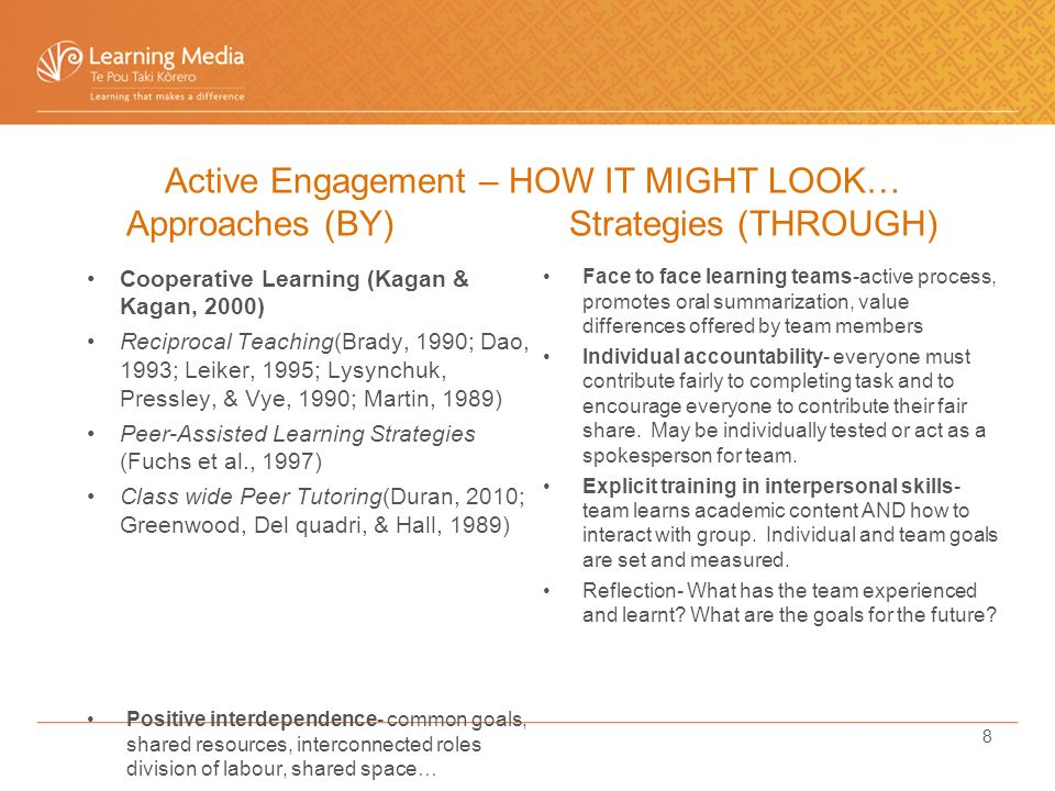 Cooperative Learning (Kagan & Kagan, 2000) Reciprocal Teaching(Brady, 1990; Dao, 1993; Leiker, 1995; Lysynchuk, Pressley, & Vye, 1990; Martin, 1989) Peer-Assisted Learning Strategies (Fuchs et al., 1997) Class wide Peer Tutoring(Duran, 2010; Greenwood, Del quadri, & Hall, 1989) Positive interdependence- common goals, shared resources, interconnected roles division of labour, shared space… Face to face learning teams-active process, promotes oral summarization, value differences offered by team members Individual accountability- everyone must contribute fairly to completing task and to encourage everyone to contribute their fair share.