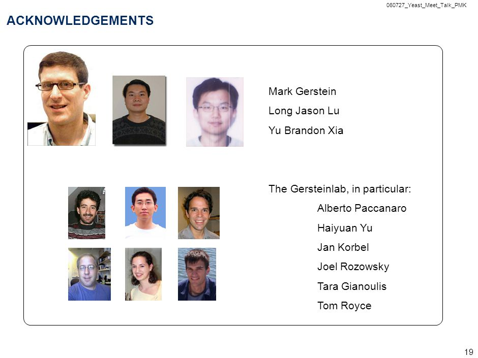 060727_Yeast_Meet_Talk_PMK 19 ACKNOWLEDGEMENTS Mark Gerstein Long Jason Lu Yu Brandon Xia The Gersteinlab, in particular: Alberto Paccanaro Haiyuan Yu Jan Korbel Joel Rozowsky Tara Gianoulis Tom Royce