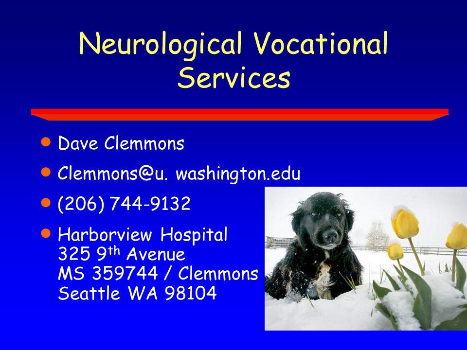 Neurological Vocational Services  Dave Clemmons  Clemmons@u.