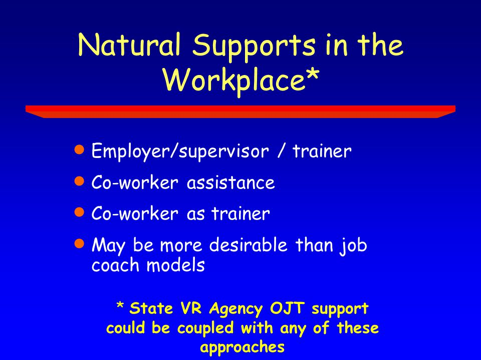Natural Supports in the Workplace*  Employer/supervisor / trainer  Co-worker assistance  Co-worker as trainer  May be more desirable than job coach models * State VR Agency OJT support could be coupled with any of these approaches