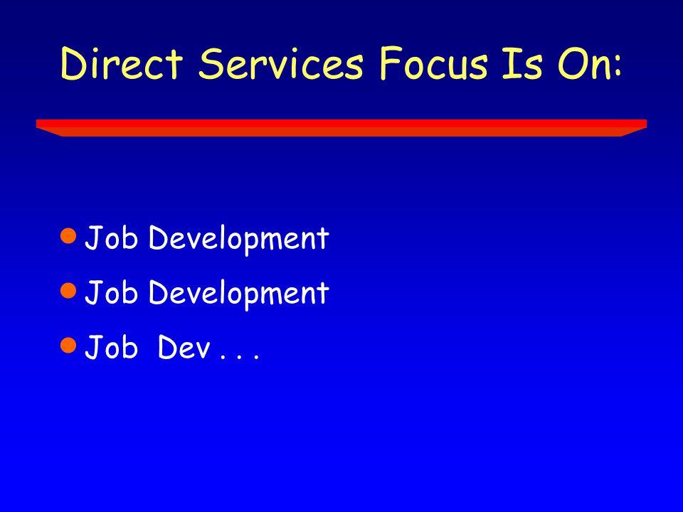 Direct Services Focus Is On:  Job Development  Job Dev...